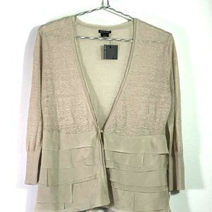 Club Monaco Womens Cardigan Sweater Beige Long